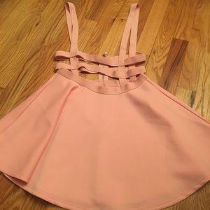 Pastel pink suspender cage skirt